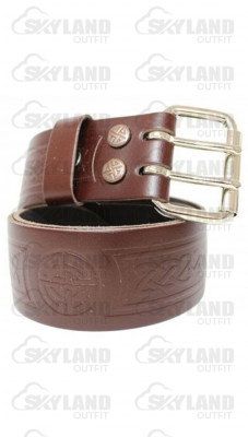 Gents Celtic Embossed Double Prong Brown Leather Kilt Belt