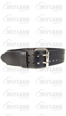 Gents Double Prong Black Leather Kilt Belt
