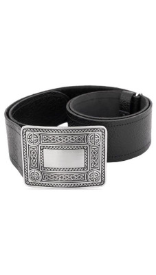 Gents Simple Plain Black Leather Kilt Belt