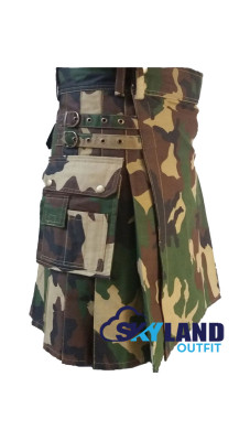 Men's Tactical Urban Camouflage Utility Cotton Kilt