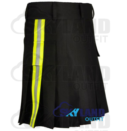 Active Men Black Cotton Tactical Kilt with Side High Visible Reflector Tape
