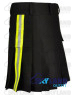 Active Men Black Cotton Kilt with Side High Visible Reflector Tape