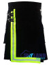 Active Men Black Cotton Kilt with High Visible Reflector Tape