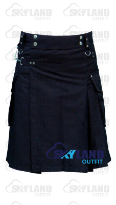 Active Men Black Cotton Tactical Kilt with Side Cargo Round Pockets