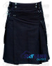 Active Men Black Cotton Tactical Kilt with Side Cargo Pockets