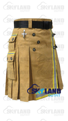 Active Men Firefighter Khaki Cotton Kilt with High Visible Reflector Tape
