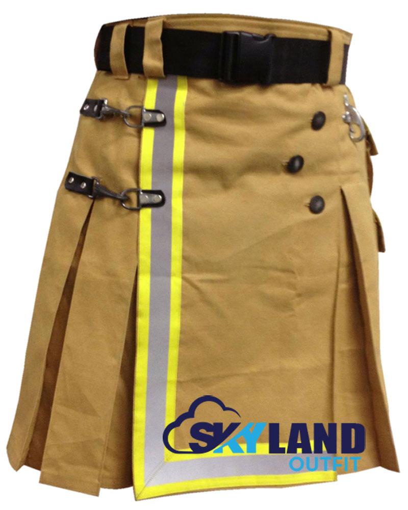 Black handmade Firefighter kilt for Men high visible reflector 100/% Cotton
