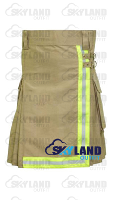 Active Men Tactical Khaki Cotton Kilt with High Visible Reflector Tape
