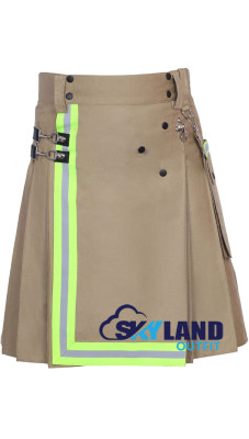 Fireman Utility Khaki Cotton Kilt with High Visible Reflector Tape