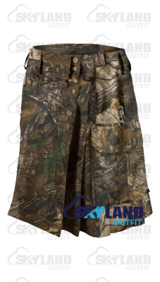 Active Men Tactical Duty Real Tree Camouflage Kilt with Side Cargo Pockets