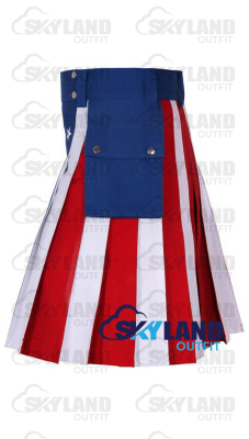 Active Men American Flag Cotton Tactical Kilt with Side Cargo Pockets