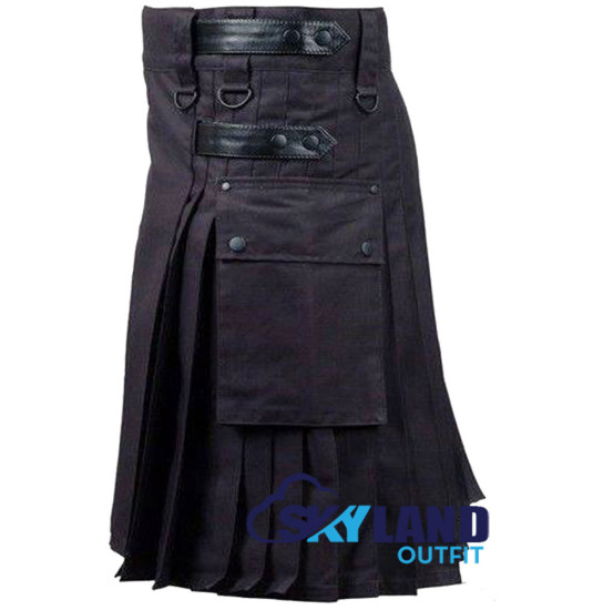 Black Utility Cotton Kilt with adjustable Leather Straps