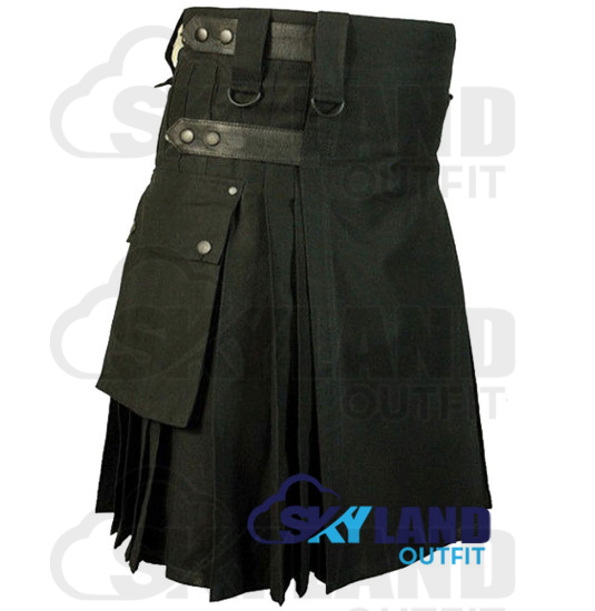 Black Cotton Utility Kilt with adjustable Leather Straps