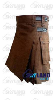 Brown Utility Cotton Kilt with adjustable Leather Straps