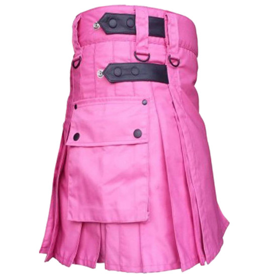 Pink Utility Cotton Kilt with adjustable Leather Straps