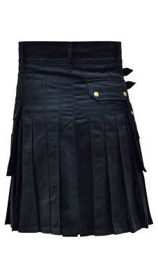 Men's Utility Black Cotton Kilt