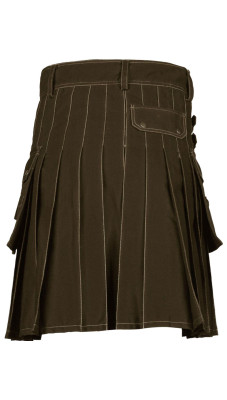 Men's Utility Brown Cotton Kilt with front Buttons