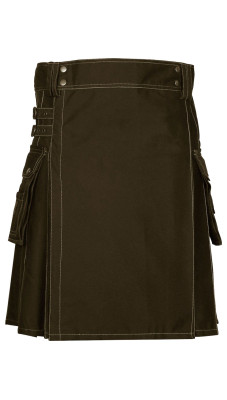 Men's Utility Brown Cotton Kilt