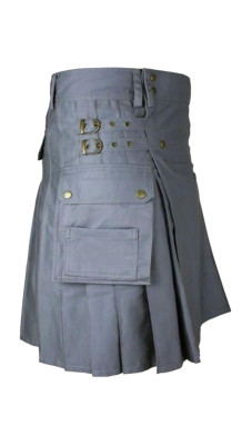 Men's Utility Gray Cotton Kilt with front Buttons