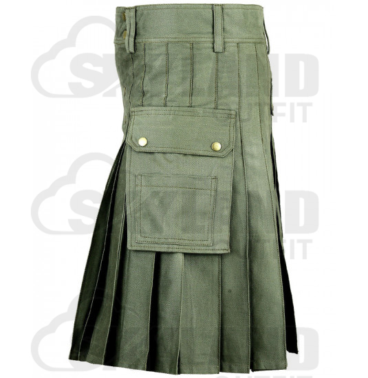 Men's Utility Olive Green Cotton Kilt with front Buttons