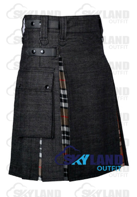 Active Men Black Denim Inner Camel Thomson Hybrid Kilt