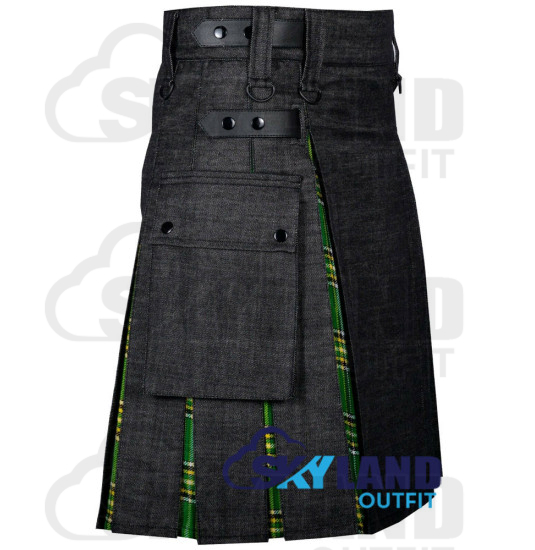 Active Men Black Denim Inner Irish Heritage  Hybrid Kilt