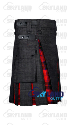 Active Men Black Denim Inner Royal Stewart  Hybrid Kilt