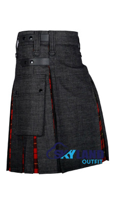 Active Men Black Denim Inner Wallace Tartan Hybrid Kilt