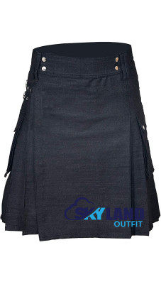 Active Men Black Denim Utility Kilt