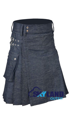 Active Men Blue Denim Utility Kilt