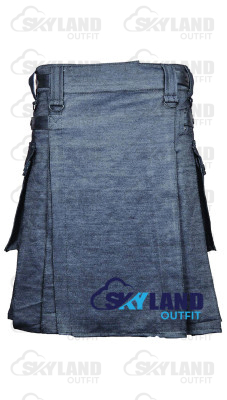 Active Men Gray Denim Utility Kilt