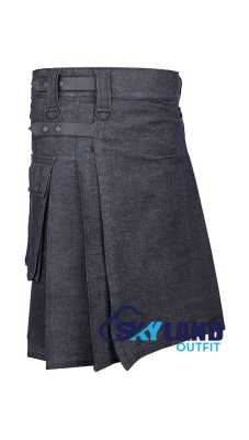 Active Men Royal Blue Denim Utility Kilt