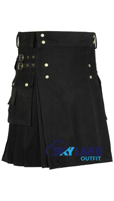 Black Cotton Utility Gothic Kilt with Front Buttons