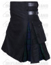 Active Men Black Cotton Inner Black Watch Hybrid Kilt