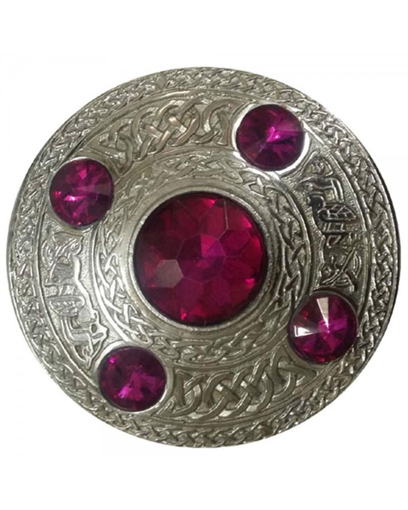 "Highland Kilt Fly Plaid Brooch Dark Purple Stone 4/""//Scottish Fly Plaid Brooch"