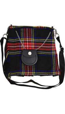 Scottish Black Stewart Tartan Ladies Kilt Shaped Purse, Traditional Clothing Hand Bag