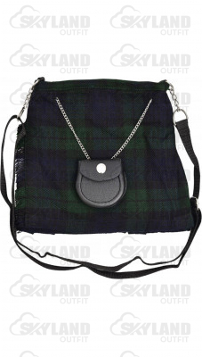 Scottish Black Watch Tartan Ladies Kilt Shaped Purse, Traditional Clothing Hand Bag