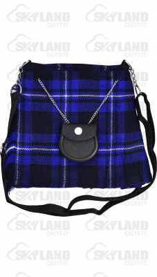 Scottish Blue Tartan Ladies Kilt Shaped Purse, Traditional Clothing Hand Bag