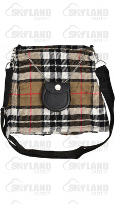 Scottish Camel Thompson Tartan Ladies Kilt Shaped Purse, Traditional Clothing Hand Bag
