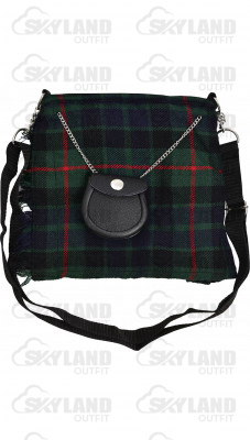 Scottish Gunn Tartan Ladies Kilt Shaped Purse, Traditional Clothing Hand Bag