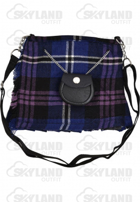 Scottish Heritage of Scotland Tartan Ladies Kilt Shaped Purse, Traditional Clothing Hand Bag