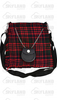 Scottish McDonald Tartan Ladies Kilt Shaped Purse, Traditional Clothing Hand Bag