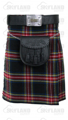 Traditional Black Stewart Tartan 5 Yard Scottish Kilt in 13oz.