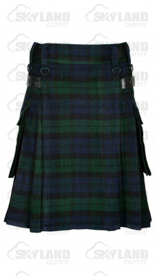 Scottish Black Watch Tartan Kilt Modern Utility Kilt with Side Pockets and Adjustable Leather Straps