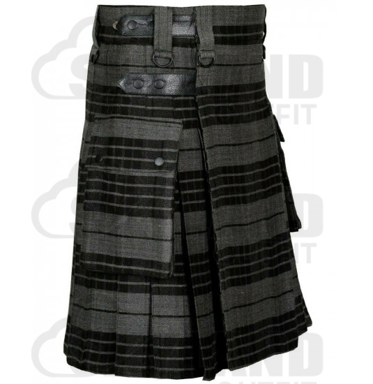 Scottish Gray Watch Tartan Kilt Modern Utility Kilt with Adjustable Leather Straps and Cargo Pockets
