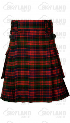 Scottish MacDonald Tartan Kilt Modern Utility Kilt with Adjustable Leather Straps and Cargo Pockets