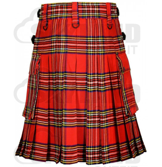 Scottish Royal Stewart Tartan Kilt Modern Utility Kilt with Adjustable Leather Straps and Cargo Pockets