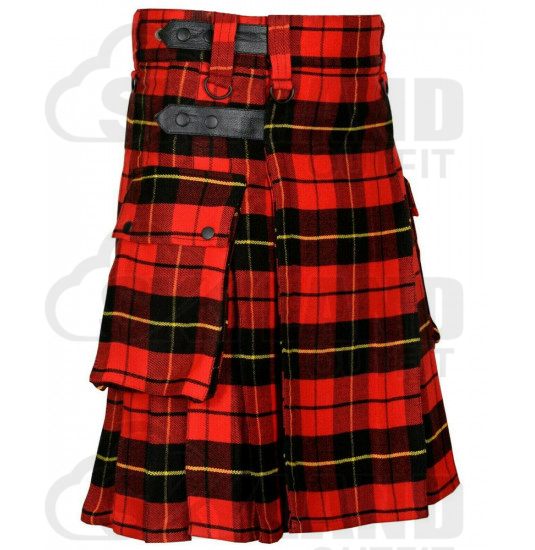 Scottish Wallace Tartan Kilt Modern Utility Kilt with Adjustable Leather Straps and Cargo Pockets
