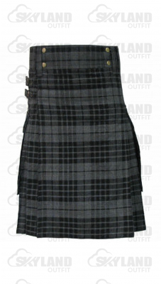 Scottish Gray Watch Tartan Kilt Modern Utility Kilt with Side Pockets