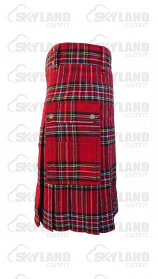 Scottish Royal Stewart Tartan Kilt Modern Utility Kilt with Side Pockets